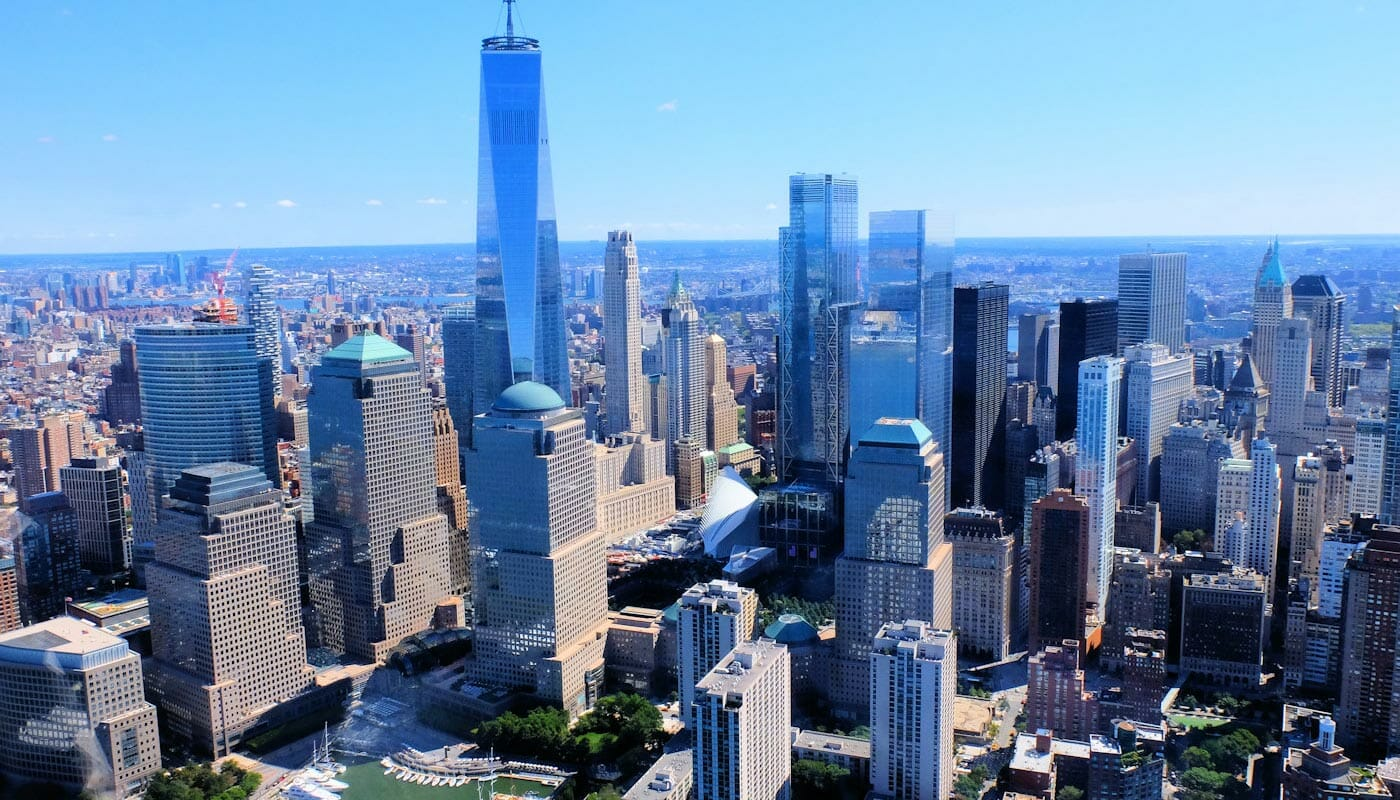 Lower Manhattan and the Financial District in New York - Aerial View