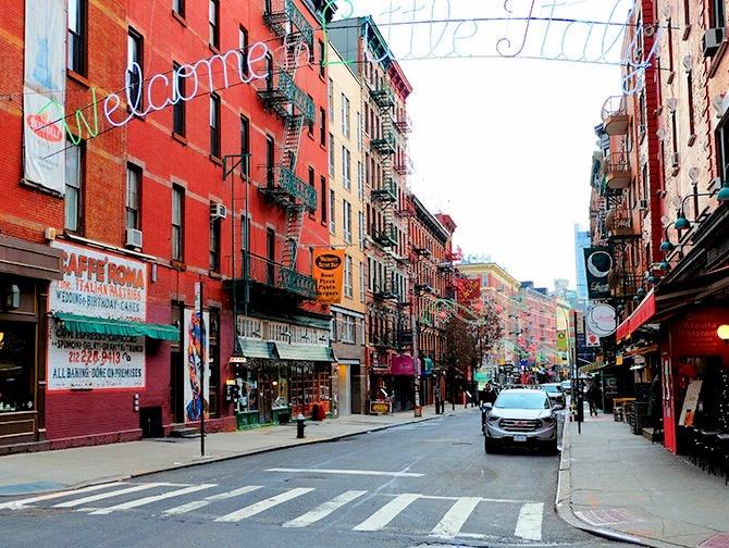 Neighbourhood Little Italy in New York - Welcome Sign