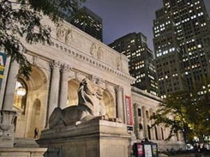 Public Library by night in New York