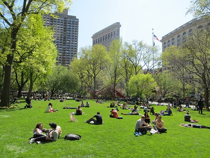 Parks in New York - people at Madison Square Garden
