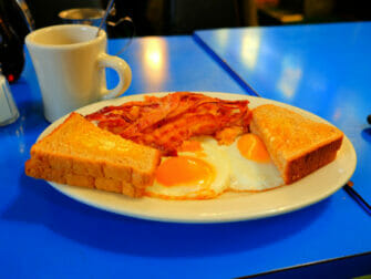 Typical American Food in New York Sunny side up