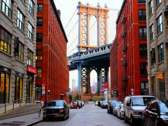 Manhattan Bridge in New York With Empire State Building